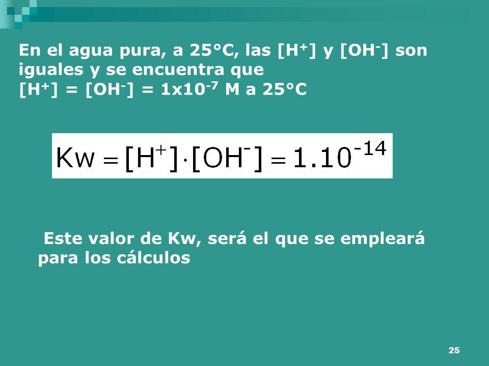 En el agua pura, a 25°C, las [H+] y [OH-] son iguales y se encuentra que
